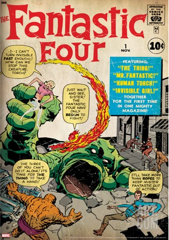 Marvel Comics Retro: Fantastic Four Family Comic Book Cover No.1 (aged) Stretched Canvas Print