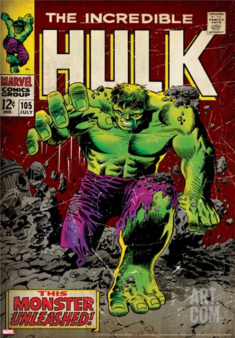 Marvel Comics Retro: The Incredible Hulk Comic Book Cover No.105 (aged) Stretched Canvas Print