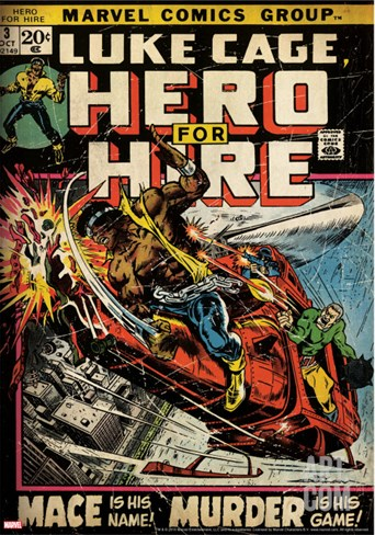 Marvel Comics Retro: Luke Cage, Hero for Hire Comic Book Cover No.3, Mace in Helicopter (aged) Stretched Canvas Print