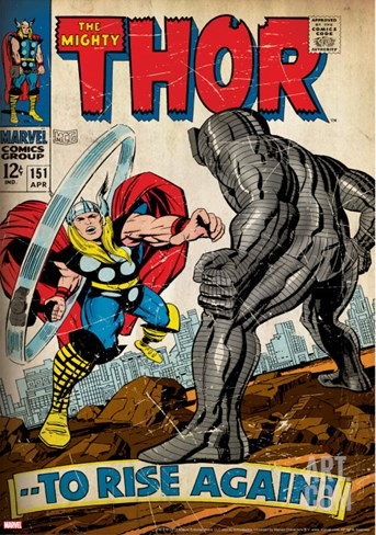 Marvel Comics Retro: The Mighty Thor Comic Book Cover No.151 --To Rise Again! (aged) Stretched Canvas Print