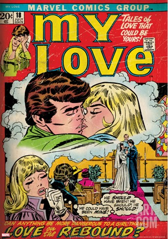 Marvel Comics Retro: My Love Comic Book Cover No.18, Kissing, Love on the Rebound (aged) Stretched Canvas Print
