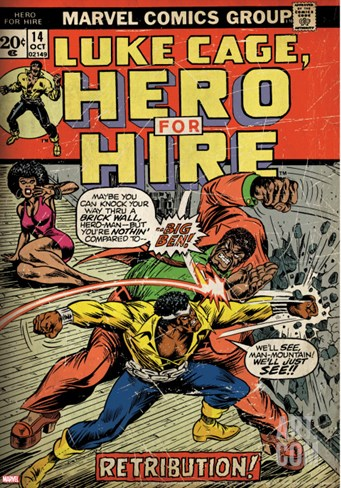 Marvel Comics Retro: Luke Cage, Hero for Hire Comic Book Cover No.14, Fighting Big Ben (aged) Stretched Canvas Print