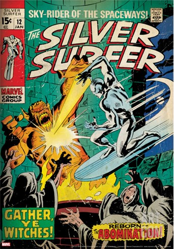 Marvel Comics Retro: Silver Surfer Comic Book Cover No.12, Fighting the Abomination (aged) Stretched Canvas Print
