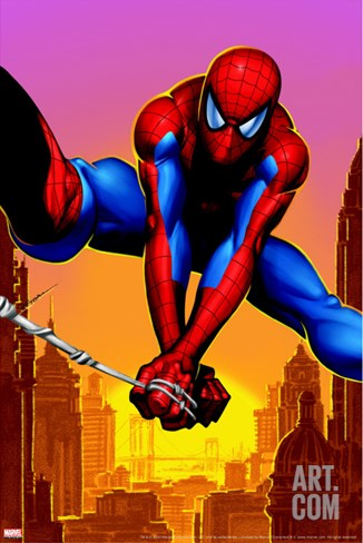 Spider-Man Swinging In the City Stretched Canvas Print