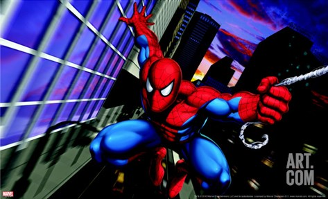 Spider-Man Swinging through the City Stretched Canvas Print