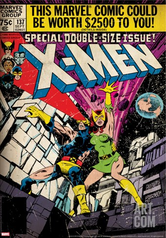 Marvel Comics Retro: The X-Men Comic Book Cover No.137, Phoenix, Colossus (aged) Stretched Canvas Print