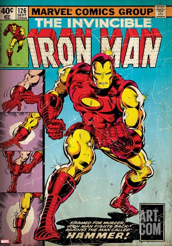 Marvel Comics Retro: The Invincible Iron Man Comic Book Cover #126, Suiting Up for Battle (aged) Stretched Canvas Print