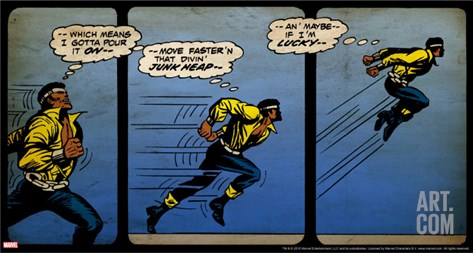 Marvel Comics Retro: Luke Cage, Hero for Hire Comic Panel, Running and Jumping (aged) Stretched Canvas Print