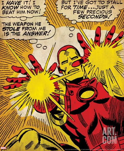 Marvel Comics Retro: The Invincible Iron Man Comic Panel, Fighting and Shooting (aged) Stretched Canvas Print