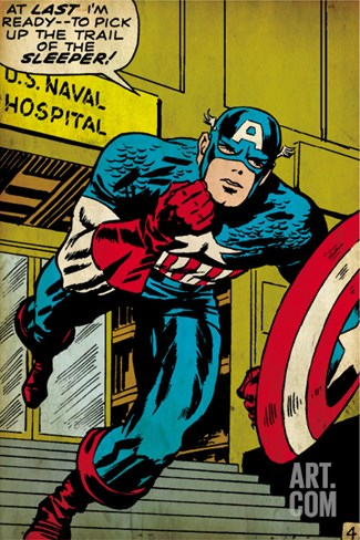 Marvel Comics Retro: Captain America Comic Panel, U.S. naval Hospital (aged) Stretched Canvas Print