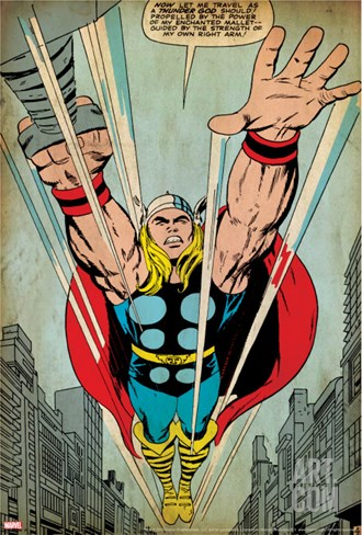 Marvel Comics Retro: Thor Comic Panel, Flying (aged) Stretched Canvas Print
