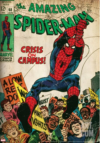 Marvel Comics Retro: The Amazing Spider-Man Comic Book Cover No.68, Crisis on Campus (aged) Stretched Canvas Print