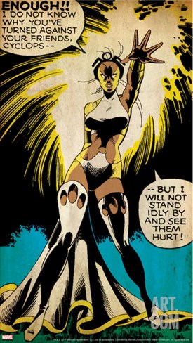 Marvel Comics Retro: X-Men Comic Panel, Storm (aged) Stretched Canvas Print
