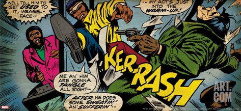 Marvel Comics Retro: Luke Cage, Hero for Hire Comic Panel, Kicking and Fighting (aged) Stretched Canvas Print