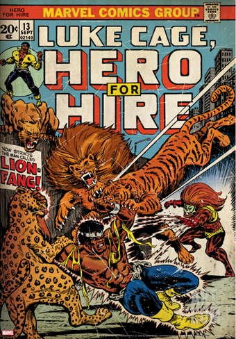 Marvel Comics Retro: Luke Cage, Hero for Hire Comic Book Cover No.13, Fighting Lion-fang (aged) Stretched Canvas Print