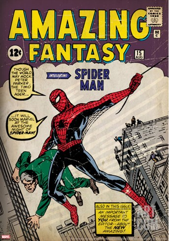 Marvel Comics Retro: Amazing Fantasy Comic Book Cover #15, Introducing Spider Man (aged) Stretched Canvas Print