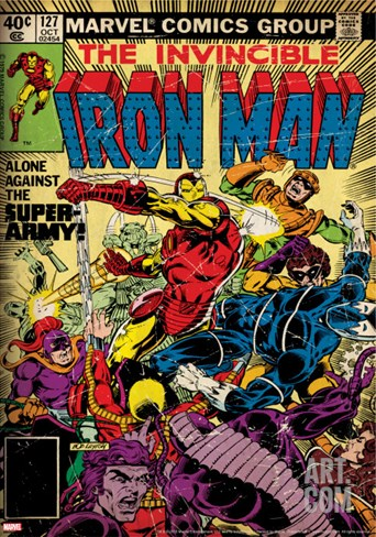 Marvel Comics Retro: The Invincible Iron Man Comic Book Cover No.127, Against the Super-Army! Stretched Canvas Print