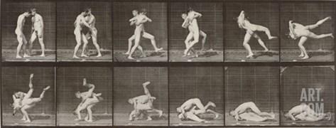 """Album sur la décomposition du mouvement : """"Animal locomotion"""", 1872/85. Lutte de deux hommes nus Stretched Canvas Print"""