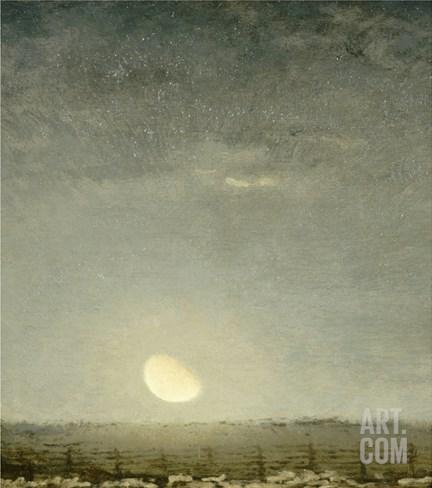 Parc ?outons, clair de lune Stretched Canvas Print
