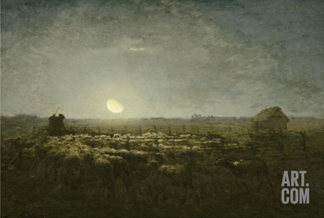 Parc ?outons, clair de lune Stretched Canvas Print
