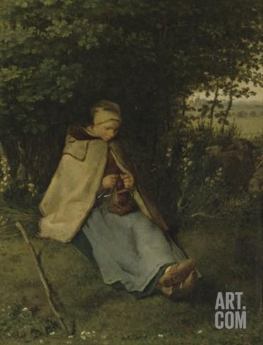 La tricoteuse Stretched Canvas Print