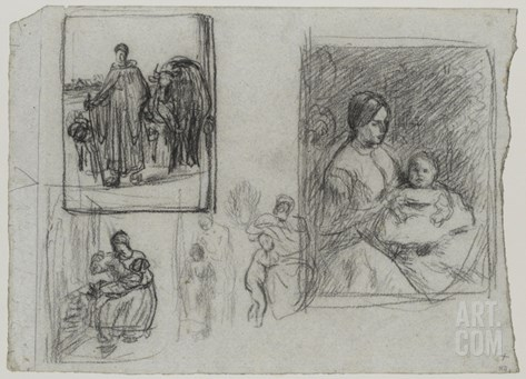 Croquis en rapport avec femme menant sa vache ?oire ; la bouillie de l'enfant, portrait de femme Stretched Canvas Print