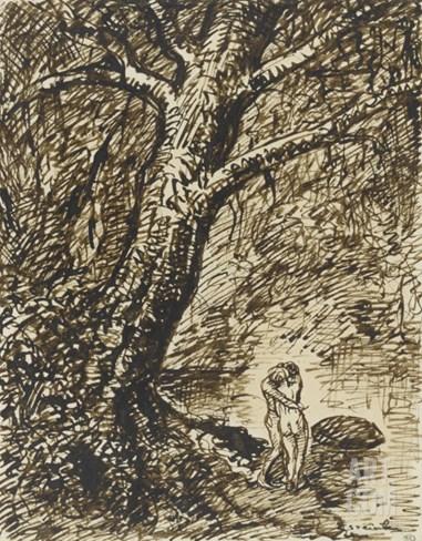 L'heureux moment : couple nu, debout, enlacé sous des grands arbres Stretched Canvas Print