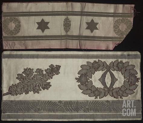 Deux bordures (pour tenture et pour siège) en brocart fond satin ponceau à anneaux et feuilles de Stretched Canvas Print