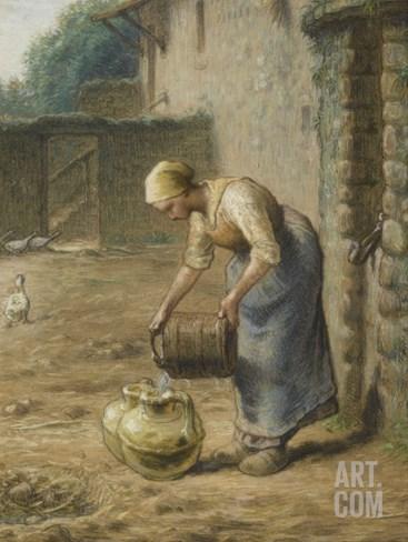 La femme au puits Stretched Canvas Print