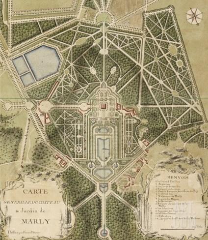 """Recueil des """"Plans des châteaux et parcs de Versailles, Trianon et Marly vers 1732"""" ; Relié aux Stretched Canvas Print"""