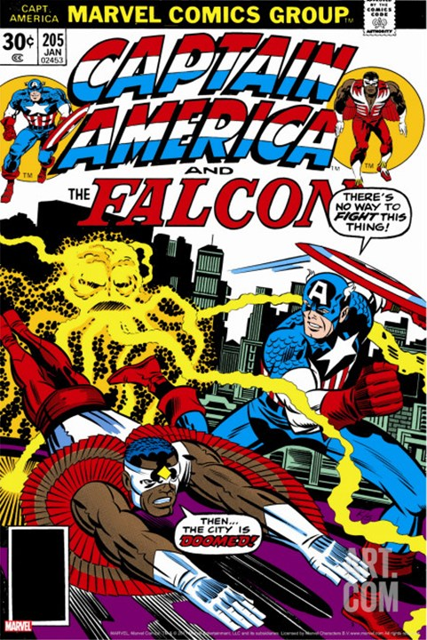 Captain America And The Falcon #205 Cover: Captain America, Falcon and Agron Fighting and Flying Stretched Canvas Print by Kirby Jack