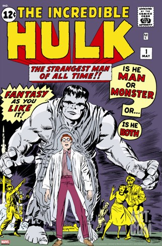 Marvel Comics Retro: The Incredible Hulk Comic Book Cover No.1, with Bruce Banner Stretched Canvas Print