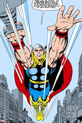 Marvel Comics Retro: Mighty Thor Comic Panel, Flying Stretched Canvas Print