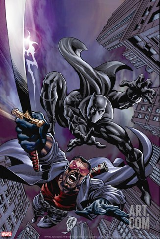 Black Panther No.12 Cover: Black Panther and Blade Stretched Canvas Print