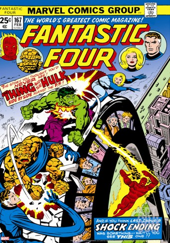 Marvel Comics Retro: Fantastic Four Family Comic Book Cover No.167, Thing and the Hulk Stretched Canvas Print