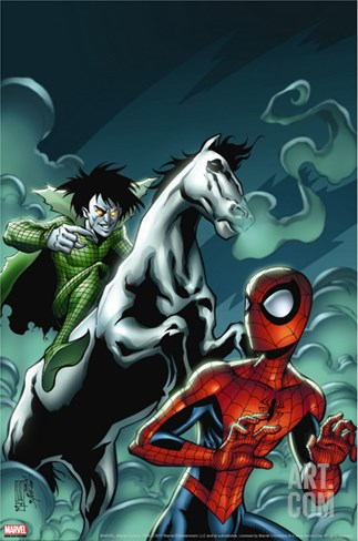 Marvel Adventures Spider-Man No.12 Cover: Spider-Man and Nightmare Stretched Canvas Print