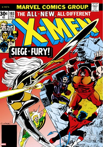 Marvel Comics Retro: The X-Men Comic Book Cover No.103, Storm, Nightcrawler, Banshee & Juggernaut Stretched Canvas Print