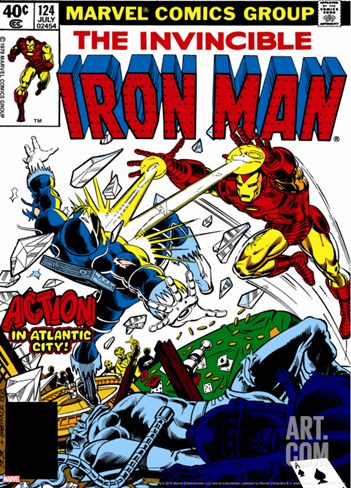 Marvel Comics Retro: The Invincible Iron Man Comic Book Cover No.124, Action in Atlantic City Stretched Canvas Print