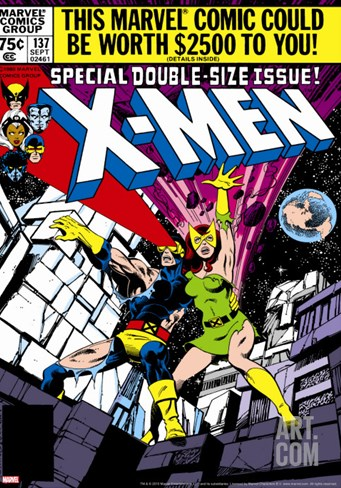 Marvel Comics Retro: The X-Men Comic Book Cover No.137, Phoenix, Colossus Stretched Canvas Print