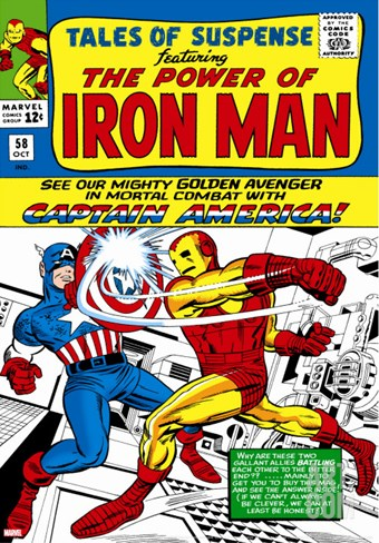 Marvel Comics Retro: The Invincible Iron Man Comic Book Cover No.58, Facing Captain America Stretched Canvas Print