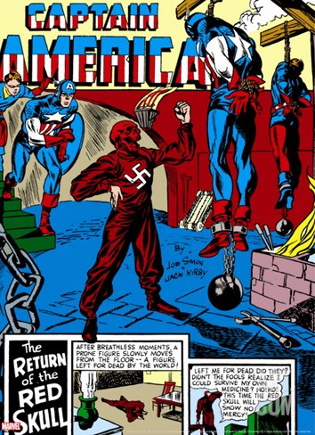 Captain America Comics No.3 Cover: Captain America, Bucky and Red Skull Stretched Canvas Print