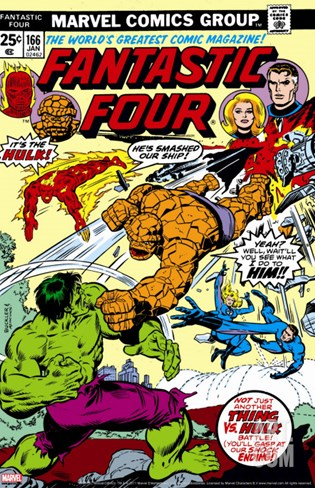 Fantastic Four N166 Cover: Hulk, Thing, Mr. Fantastic, Invisible Woman and Human Torch Fighting Stretched Canvas Print