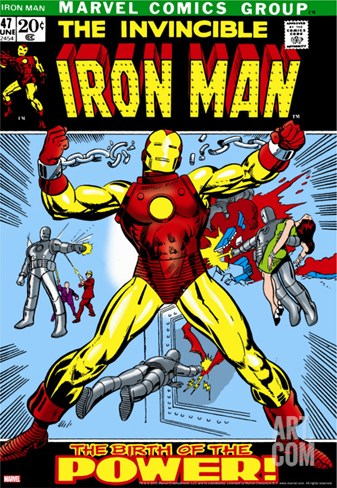 Marvel Comics Retro: The Invincible Iron Man Comic Book Cover No.47, Breaking Through Chains Stretched Canvas Print