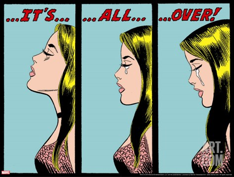 Marvel Comics Retro: Love Comic Panel, Crying, It's All Over! Stretched Canvas Print