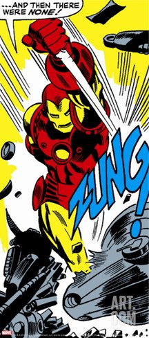 Marvel Comics Retro: The Invincible Iron Man Comic Panel, Fighting, Charging and Smashing - Zung! Stretched Canvas Print