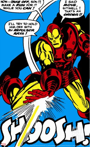 Marvel Comics Retro: The Invincible Iron Man Comic Panel, Fighting and Shooting, Shoosh! Stretched Canvas Print