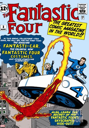 Marvel Comics Retro: Fantastic Four Family Comic Book Cover #3, Flying Stretched Canvas Print