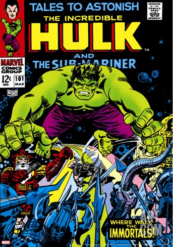 Marvel Comics Retro: The Incredible Hulk Comic Book Cover No.101, with the Sub-Mariner Stretched Canvas Print
