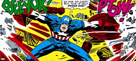 Marvel Comics Retro: Captain America Comic Panel, Fighting, Phase 1, So Far So Good! Stretched Canvas Print