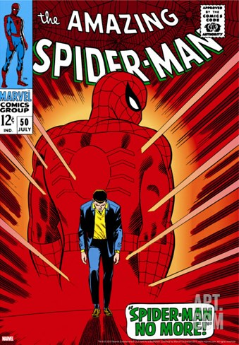 Marvel Comics Retro: The Amazing Spider-Man Comic Book Cover No.50, Spider-Man No More! Stretched Canvas Print